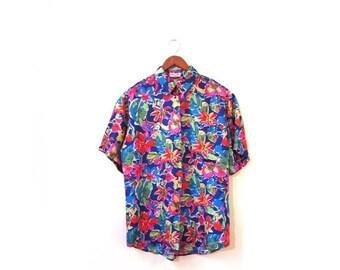 BTS SALE Vintage 80s Silk Floral HAWAII Button Up Boxy Blouse