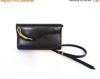 BTS SALE Vintage 80s Black Leather SERPENTINE Clutch Shoulder Purse
