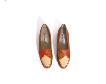 BTS SALE Vintage 90s Preppy Southwestern Color Block Leather Loafers women 7.5 8 chestnut honey brown vestiesteam indie hipster boho