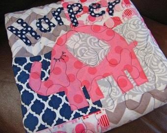 Baby Quilt Girl - Pink Navy Gray - Patchwork Baby Quilt - Navy Blue - Hot Pink - Gray - Made To Order - Modern Patchwork
