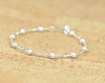 Sterling Silver Bead Bracelet  - Everyday Wear - Sterling Ball Bracelet - Simple Sterling Bracelet