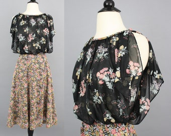 vintage 70s Floral Boho 2fer Dress / 1970s Blouson Chiffon Feminine Hippie Day Dress / XS Small