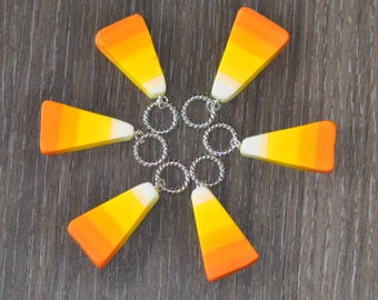 Hand made Candy Corn Polymer Clay Stitch Markers for Knitting - Set of 6