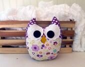 Plush Owl Mini Pillow Stuffed Owl Softie Purple Green Orange
