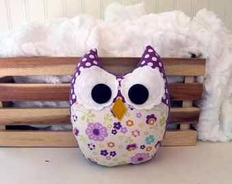 Plush Owl Mini Pillow Stuffed Owl Softie Purple Green Orange Ready to Ship