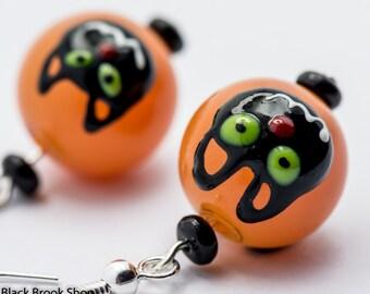 Sale / On Sale / Clearance Jewelry / Jewelry on Sale / Marked Down / Black Cats Orange Lampwork Glass Silver Plated Earrings - EA00393