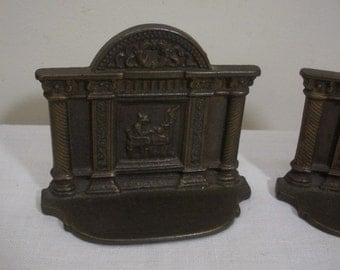 Antique Vintage Pair 1930's Spinning Scene Iron Bookends