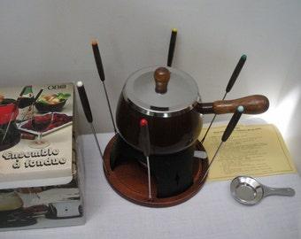 Vintage Chocolate Brown Alcohol Burner Fondue Pot with Skewers