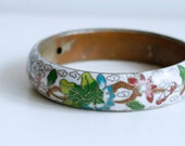 1960s wide white cloisonne floral bangle / 60s vintage enamel flower Chinese bracelet