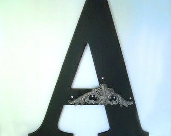 vintage late 1970's large wooden initial A in black shabby chic distressed finish w/silver & crystal decoration