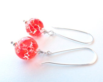 Orange Crush Glass and Sterling Silver Earrings by Sasha and Max Studio
