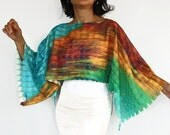 Boho Tunic Shrug, Multicolored, Boho Poncho, Turquoise, Green, Yellow Marbled Double Side Usage, Top, Blouse, Handmade