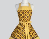 Ruffled Retro Apron - Sunny Golden Yellow Sunflowers Fall Apron Vintage Style Full Kitchen Apron Personalize or Monogram