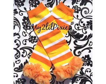 Baby Girl Candy Corn Halloween Ruffle Leg Warmers, Halloween , legwarmer , girl leggings, Baby girl leg warmer, ready to ship