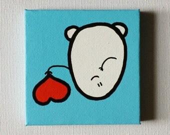 Chep Heart - Acrylic Painting On Canvas - Original - Tiny Miniature Painting