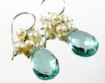 Aquamarine Earring with Clusters of White Pearls, Aquamarine Drop Earring, Pearl Cluster Earring