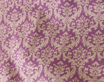 Yuwa Damask Plum and Cream 828603E Cotton Fabric