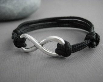 Infinity Bracelet with Adjustable Paraline Cord, Unisex Bracelet, Wedding Day Gift, Anniversary, Birthday Gift