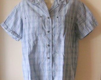 Ladies plaid 100 % cotton  shirt blue white navy womens shirt  vtg size small blouse excellent condition