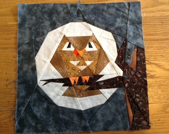 Paper Pieced Owl Quilt Block