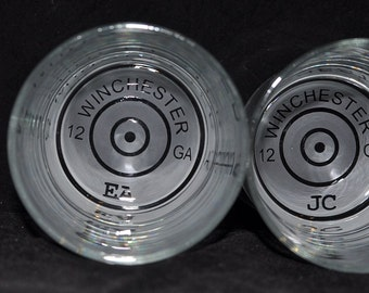 Personalized Shot Gun Shell Rocks Glass for your Shot Gun Wedding, Rustic, Hunter  by Jackglass on Etsy.com