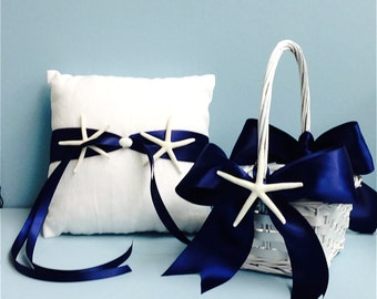 Beach Wedding White Linen Ring Bearer Pillow & Basket with Starfish - 7 Ribbon Choices