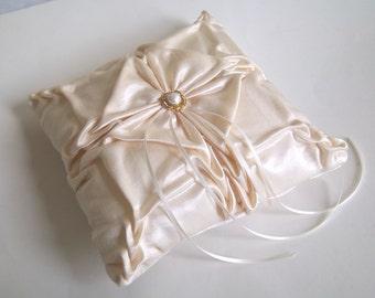 Cream  hand smocked  pillow.  Wedding Ring Bearer Pillow