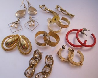 Vintage Pierced Earrings Lot of 9 Pairs Wearable Crafts Costume Jewelry Jewellery