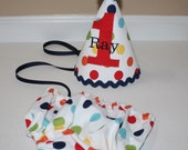 primary dot boys first birthday outfit, cake smash 1st birthday outfit rainbow dots red or blue accents, 1st birthday hat for boys