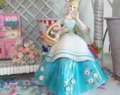 SALE - Vintage Lefton China Figurine, Blue Girl With Basket, Label
