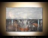 Abstract Original Large Textured High Gloss Modern Charcoal Gray and Rust Abstract Painting Contemporary Art 24X36 by Sky Whitman