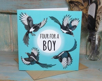 Four For A Boy, Magpies Illustration Square Greeting Card - 280gsm White Card 150 x 150mm Blank Inside with Brown Recycled Envelope