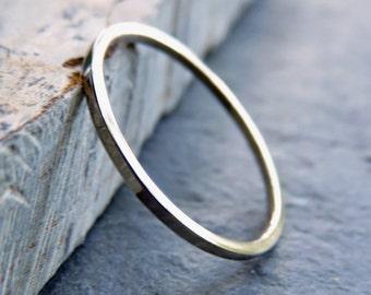 Thin Palladium White Gold Square Wedding Band - 1mm Solid 14k White Gold Wedding Ring - Choose Matte or High Polish - Hypoallergenic Metals