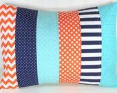Pillow Cover, Baby Boy Nursery Decor, Patchwork Pillow Cover, Crib Bedding, 12 x 16 Inches, Navy Blue, Orange and Aqua Blue, Chevron, Dots