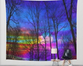 Moon wall tapestry,moon wall tapestries,trees wall tapestry,forest wall tapestry,magical sky wall tapestry,colorful sky wall tapestry,