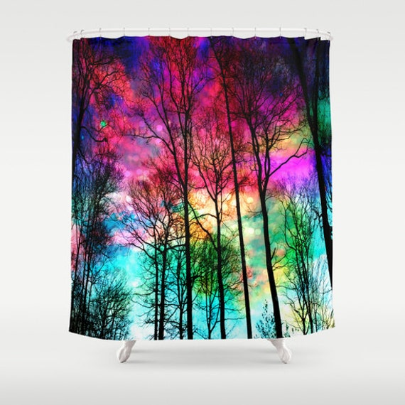 Items similar to colorful shower curtain colorful forest Colorful shower curtains