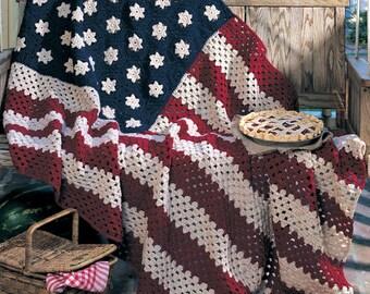 American Flag Afghan Hand Crochet