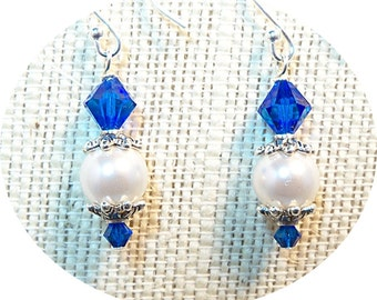 Sapphire Blue Earrings Bridesmaid Gift, Bridal Accessories, Pearl and Crystal Dangle Earrings Mother of the Groom Dressy Earrings