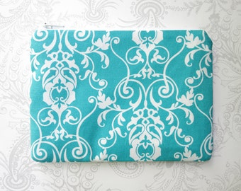 Teal Scroll -- Zippered Cosmetic Bag -- Makeup -- Cotton Pouch -- White