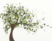 Green Tree Art Print 8 x 10, Circles, Wind Blowing Tree Print, Nature Themed Home Decor, Modern Wall Decor (170)