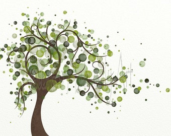 Green Tree Art Print 8 x 10, Circles, Wind Blowing Tree Print, Nature Themed Home Decor, Modern Wall Decor (170)