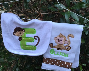 Personalized Monkey Monogrammed Bib and burpcloth Embroidered