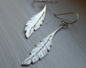 Sterling Silver Feather Earrings Handmade