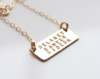Gold filled Bar Three Names Necklace, Necklace for Mom, Gold Filled Hand Stamped Personalized Necklace by TagYoureItJewelry on etsy
