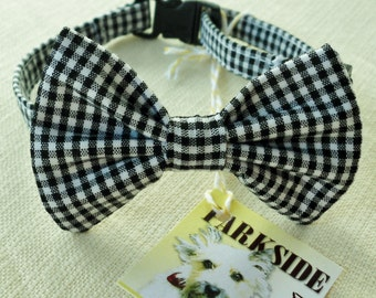 Black and White Bow Tie Collar and Leash Set