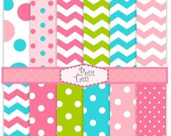 ON SALE Digital paper pack, digital backgrounds-color 09, sweet color digital paper, blue,pink, green,chevron, polka dots