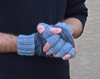 Men's fingerless gloves blue grey wool alpaca handmade gift knit gloves Christmas gift for him