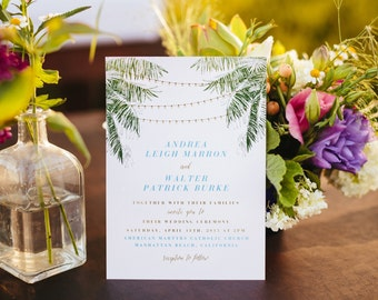 ANDREA SUITE // Beach Wedding Invitation, Coastal Wedding, Destination Wedding, Palm Trees, String Lights, California, Florida, Summer