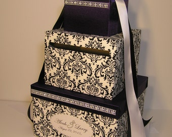 Wedding Card Box Damask and Purple Gift Card Box Money Box  Holder--Customize your color