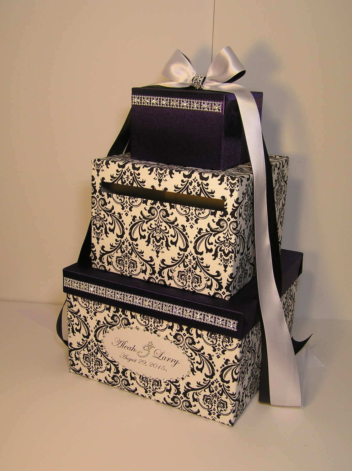 Wedding Card Box Damask and Purple Gift Card Box Money Box